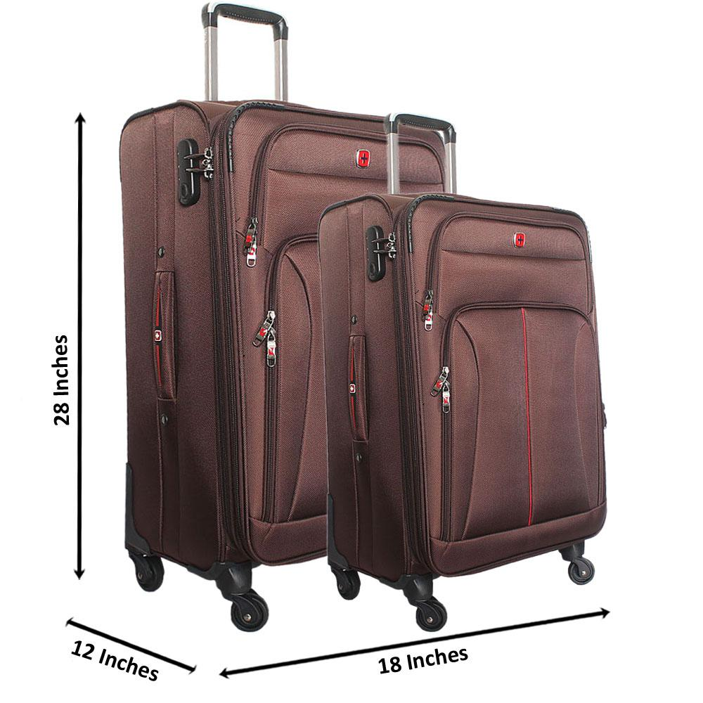 Saint Brown 28 Inch wt 24 Inch Fabric 4 Wheels Spinners Suitcase Set