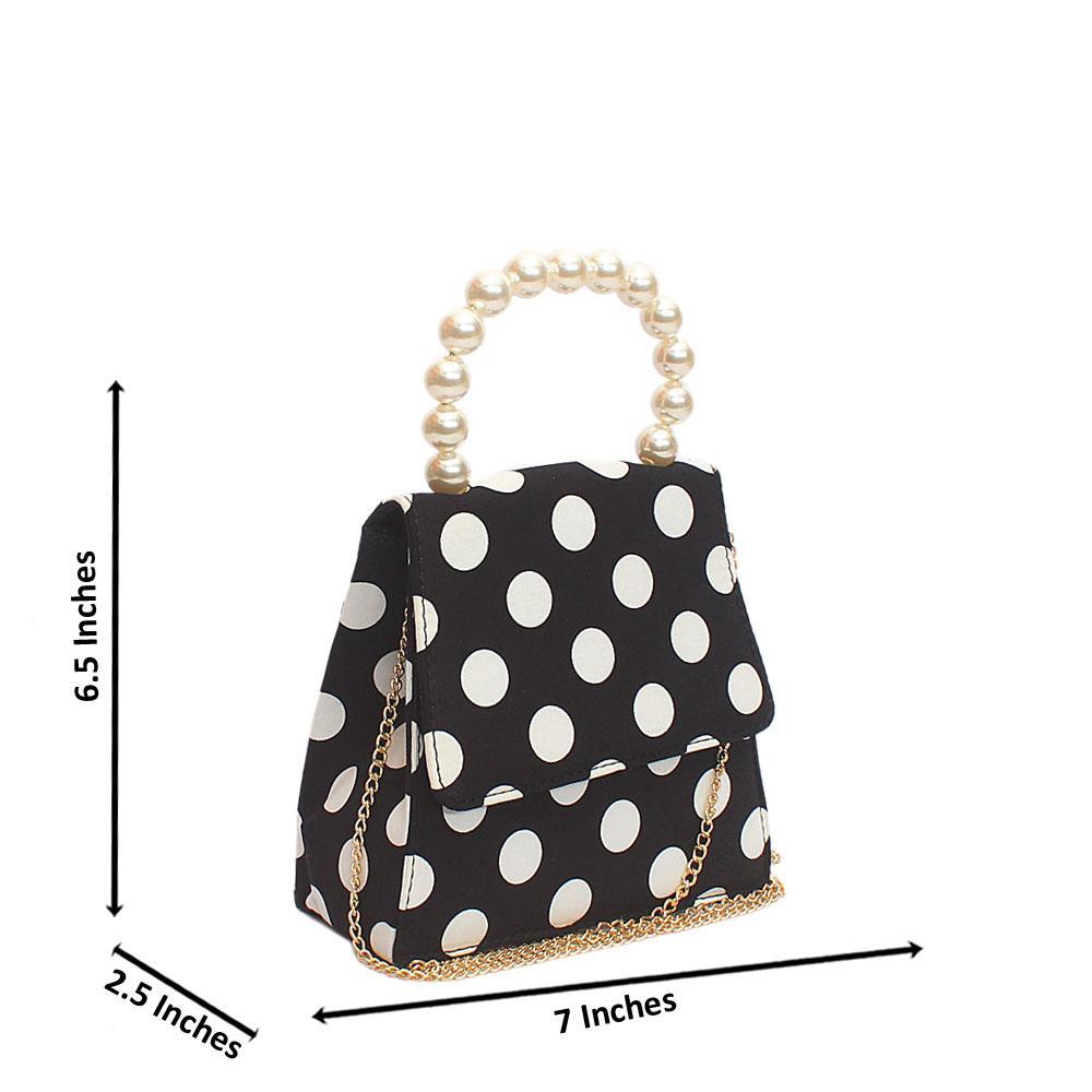 Black White Pearl Fabric Mini Handle Bag