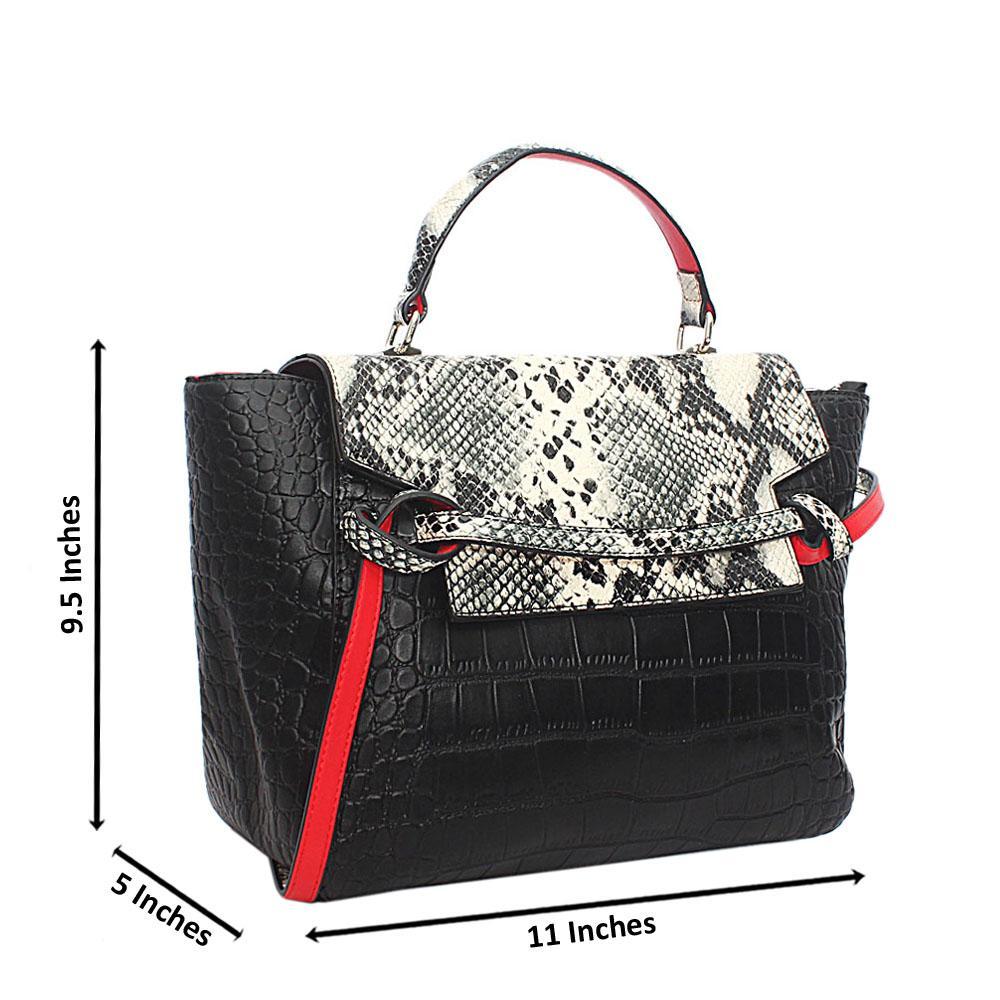Black White Croc Leather Single Handle