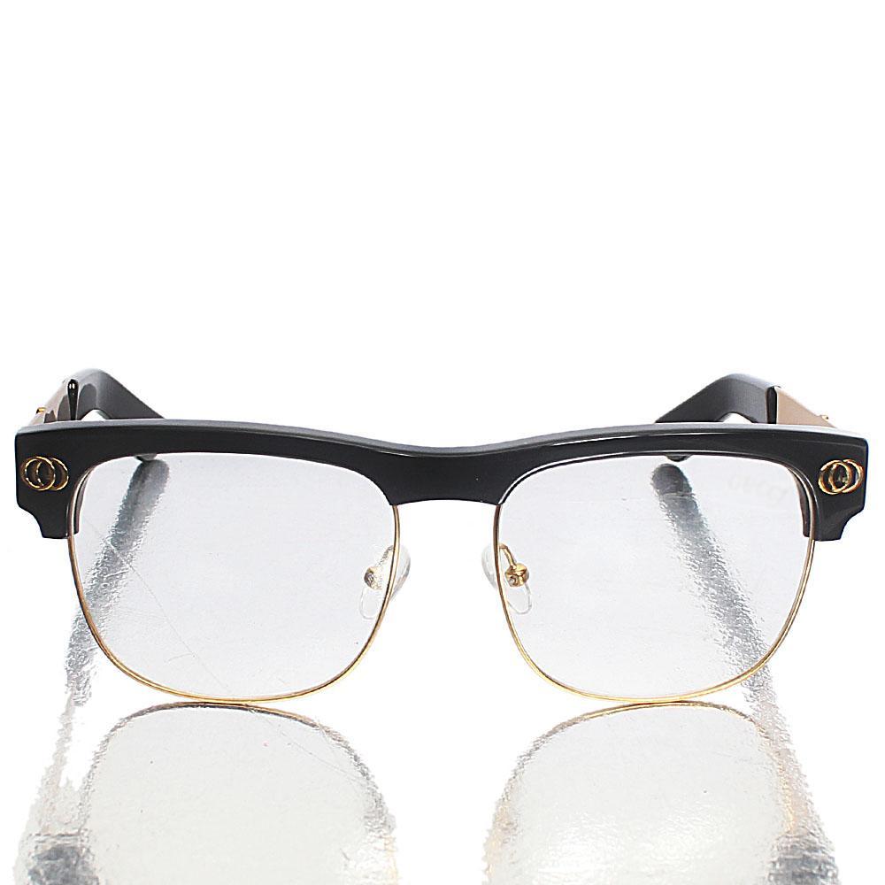 Gold Black Transparent Lens Club-Master Glasses