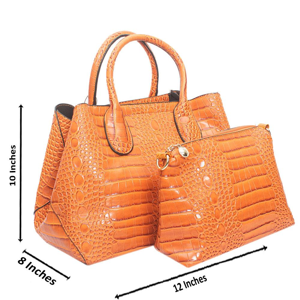 Orange Croc Leather Handbag