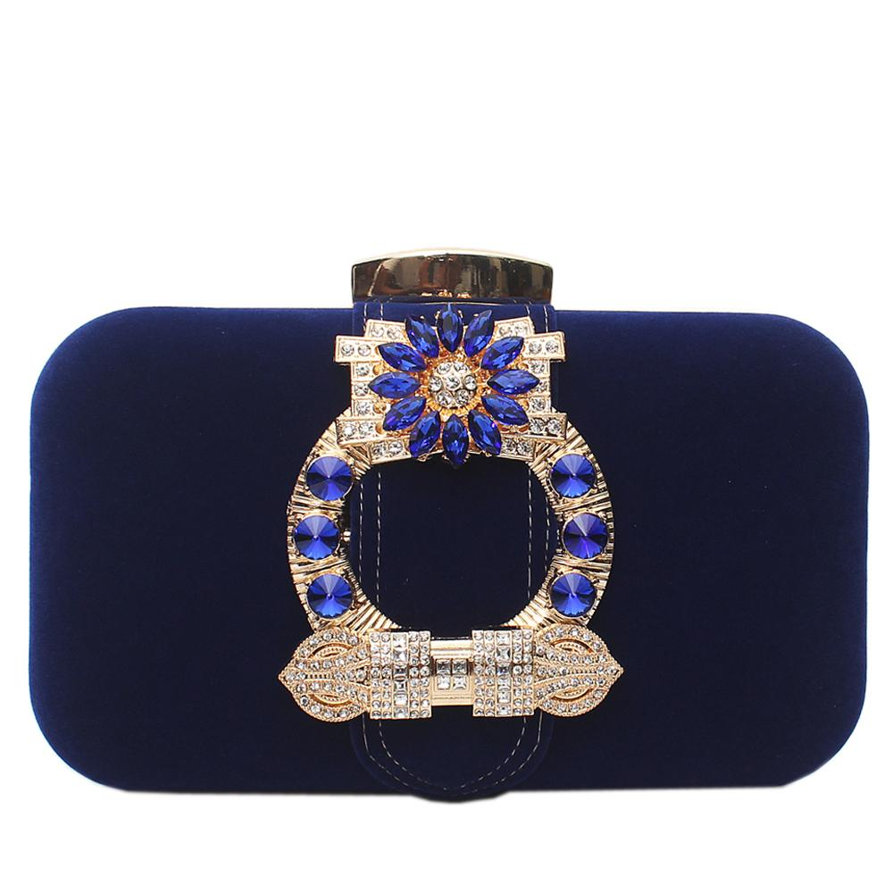 Royal Blue Studed Sued Clutch Purse