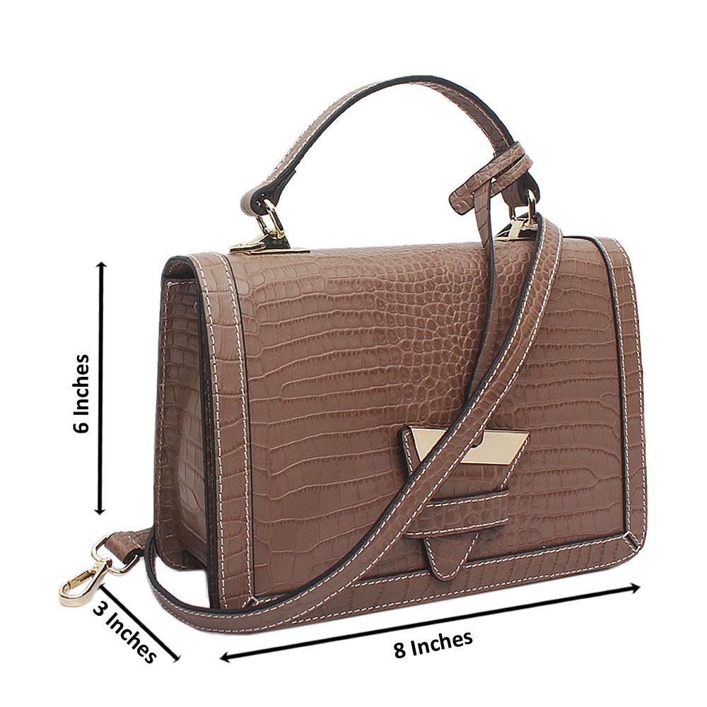 Rose Graphite Khaki Croc Saffiano Leather Small Handle Bag