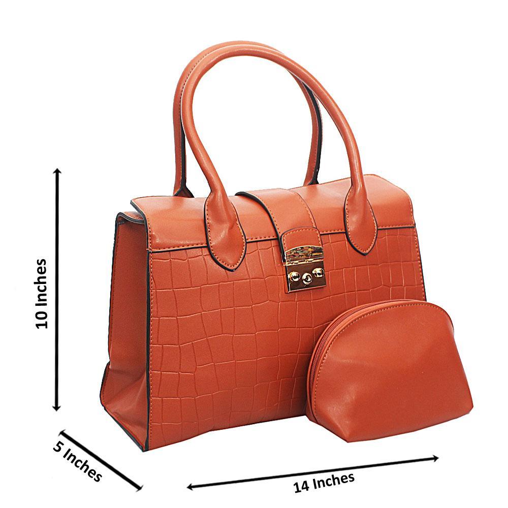 Brown Lotti Smooth Croc Leather Tote Handbag