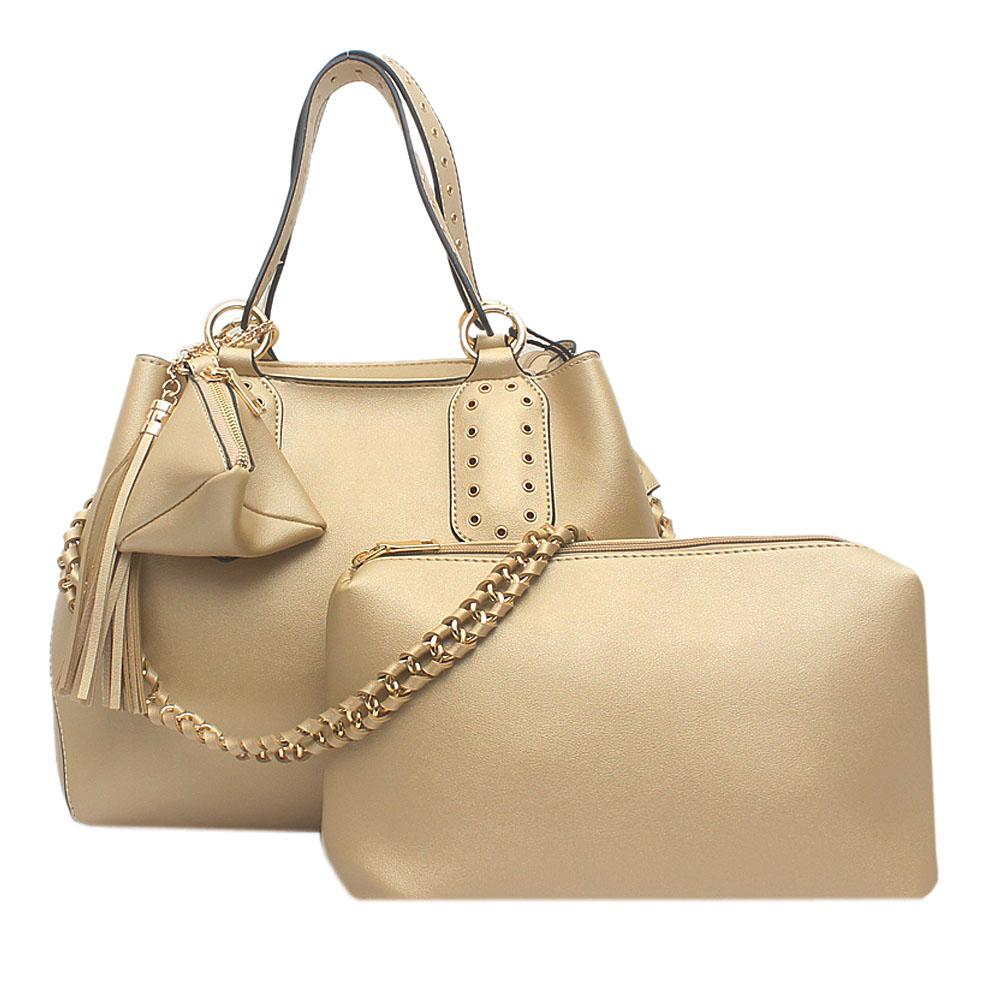 London Style Gold Leather Handbag   Wt Purse