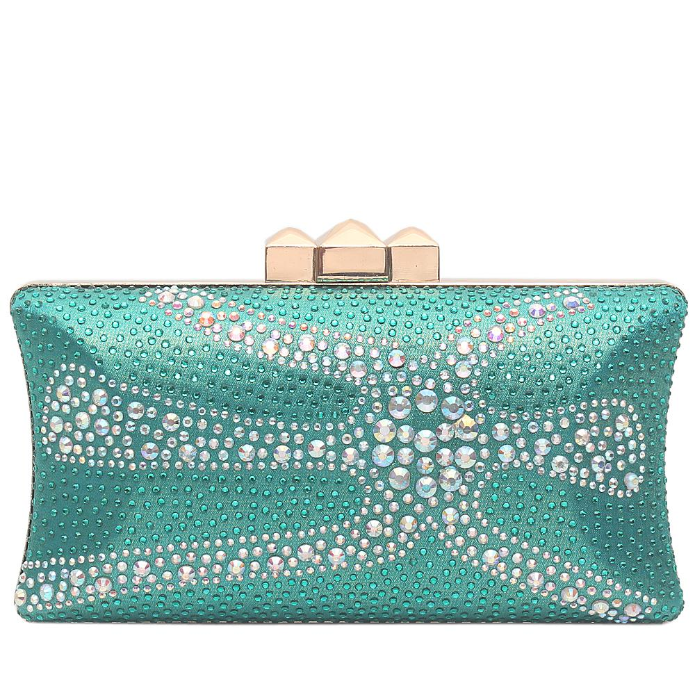Green Glitz Studded Premium Hard Clutch
