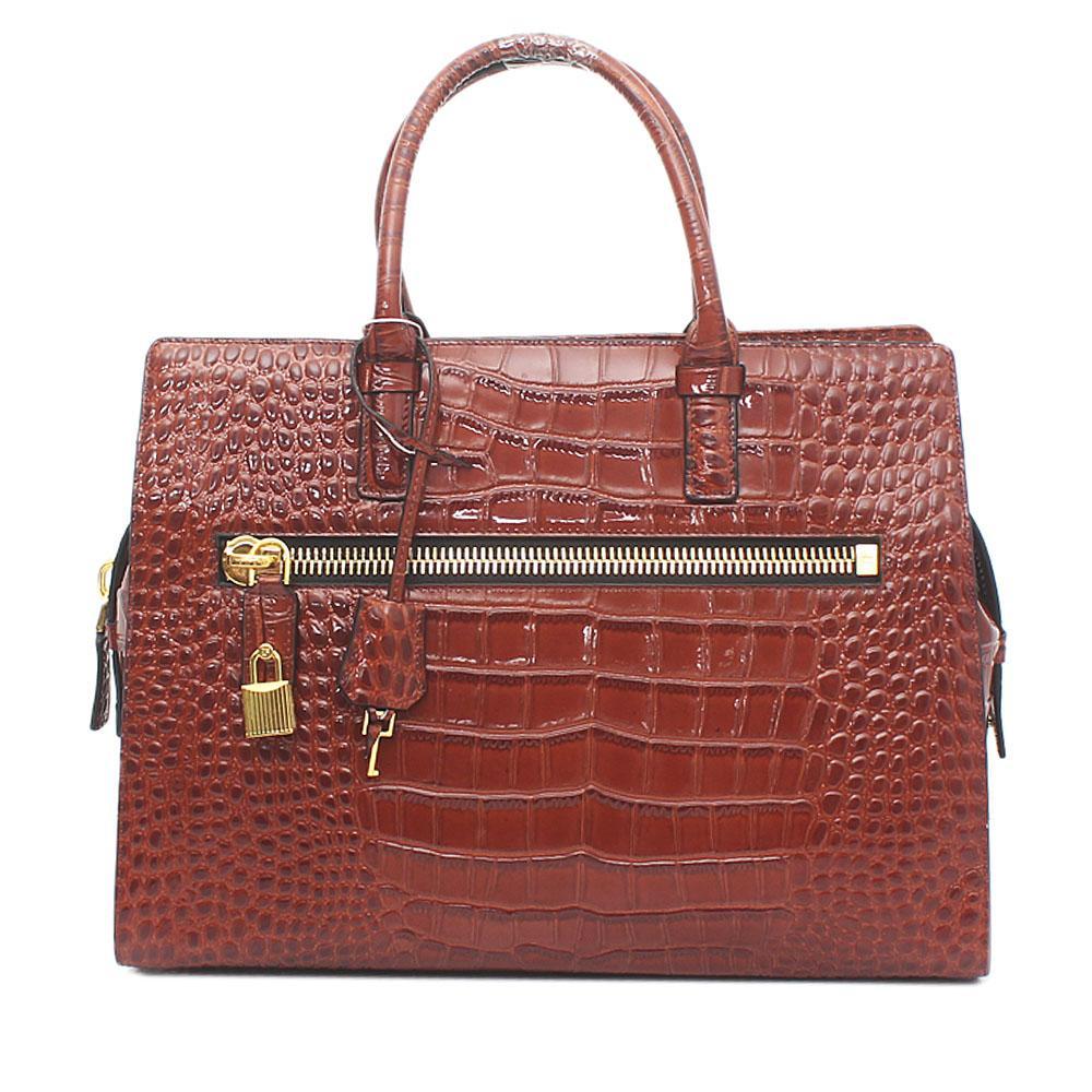Brown Saffiano Saffiano Leather Handbag