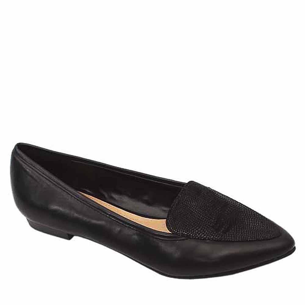 Ann Marino Black Leather Ladies Flat Shoe