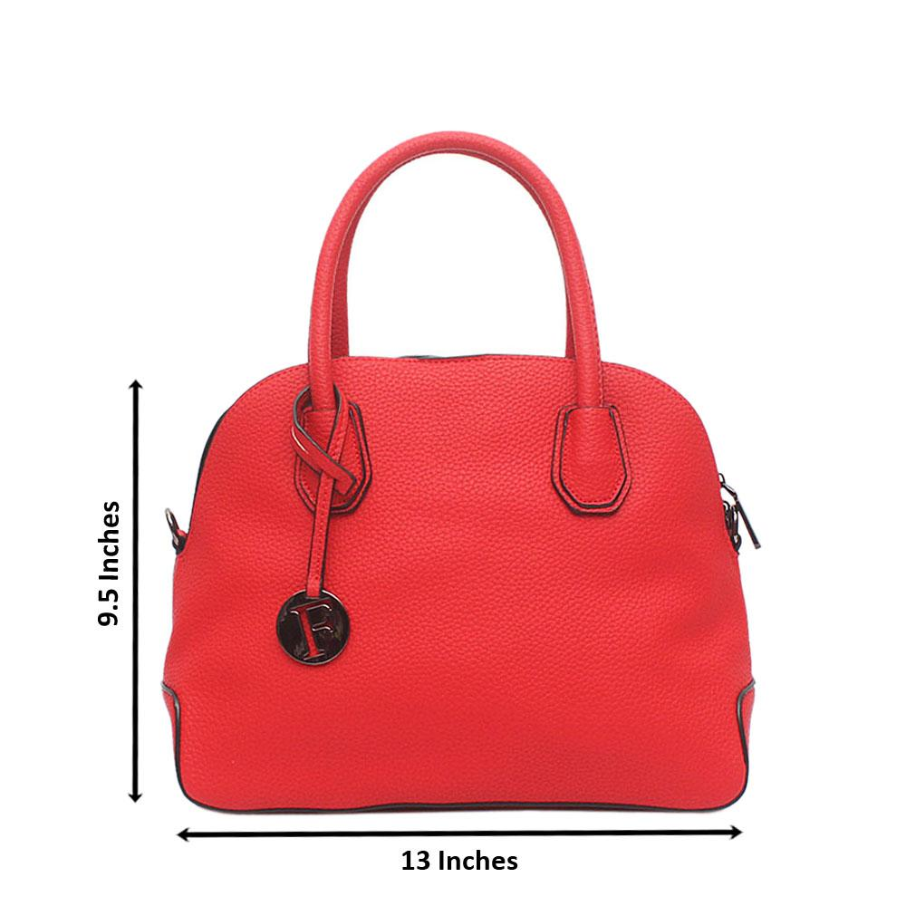 London Style Red Leather Tote Bag
