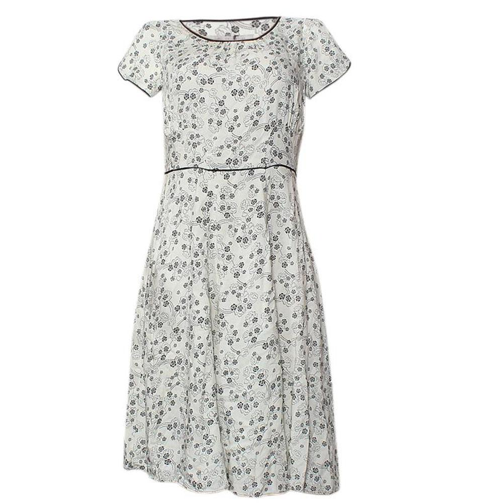 M & S White - Black Floral Design Ladies Dress-UK 12
