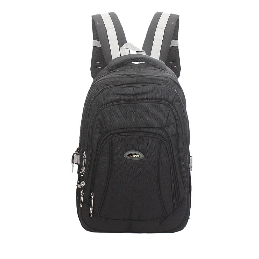 Aoking Black Grey Fabric Laptop Backpack
