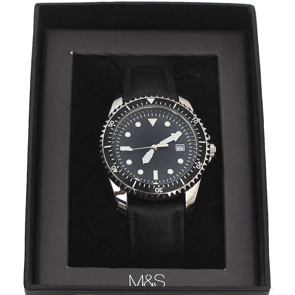 M & S Black Leather Men Watch