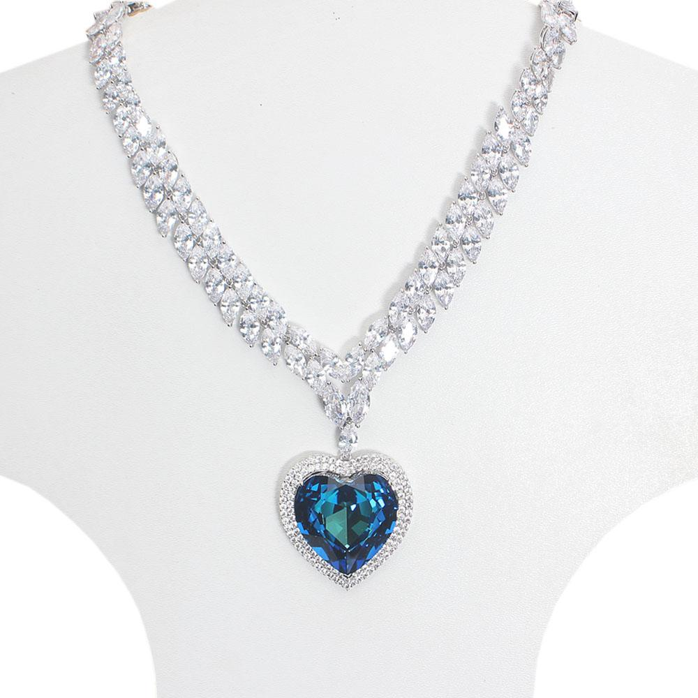 Angelic Studded Silver Necklace with Blue Love Swarovski Element Stone