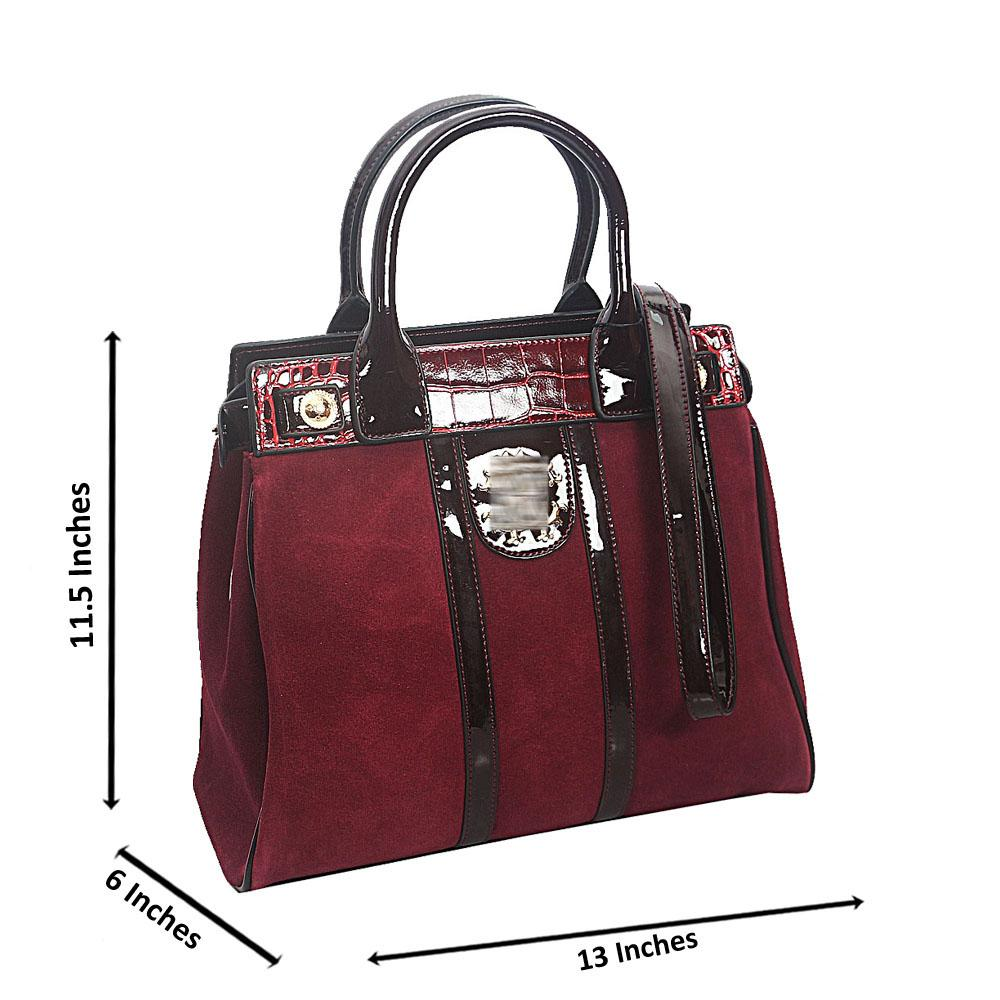 Wine Croc Suede Saffiano Leather Tote Handbag