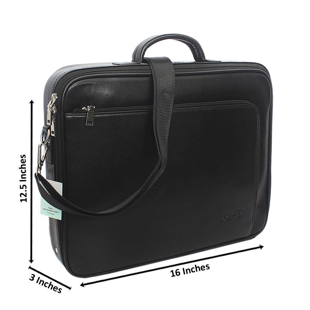 Black Multi Zip Leather Briefcase