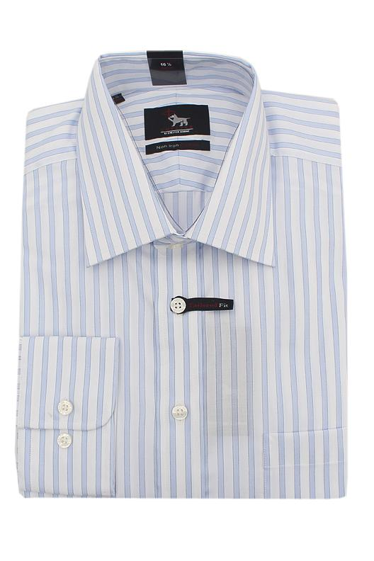 Chester Blue White Striped Non Iron Cotton L/Sleeve Men Shirt
