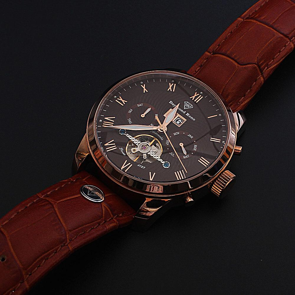 Daymond Rene Gold Brown Leather Automatic Watch