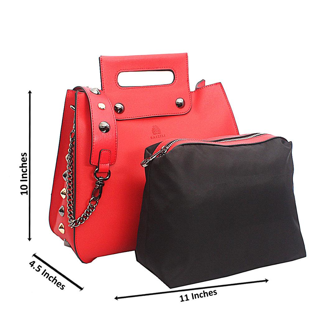 Baizili Red Stud  Italian Leather Top Handle Handbag