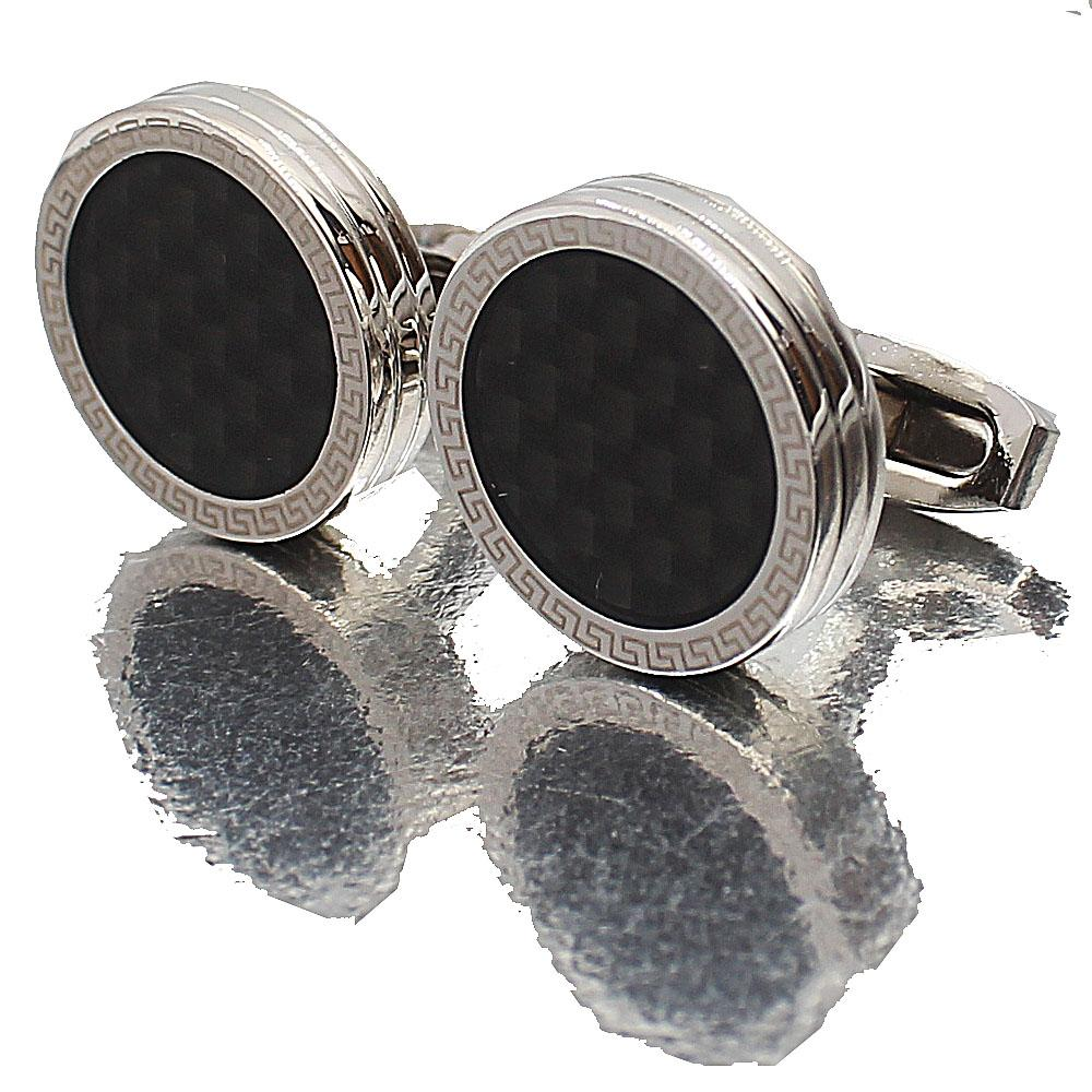 Silver Black Etched Pearl Stainless Steel Cufflinks