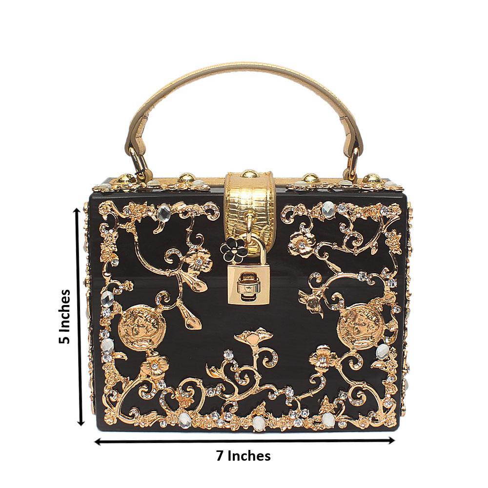 Emily Black Plastic Box Bag