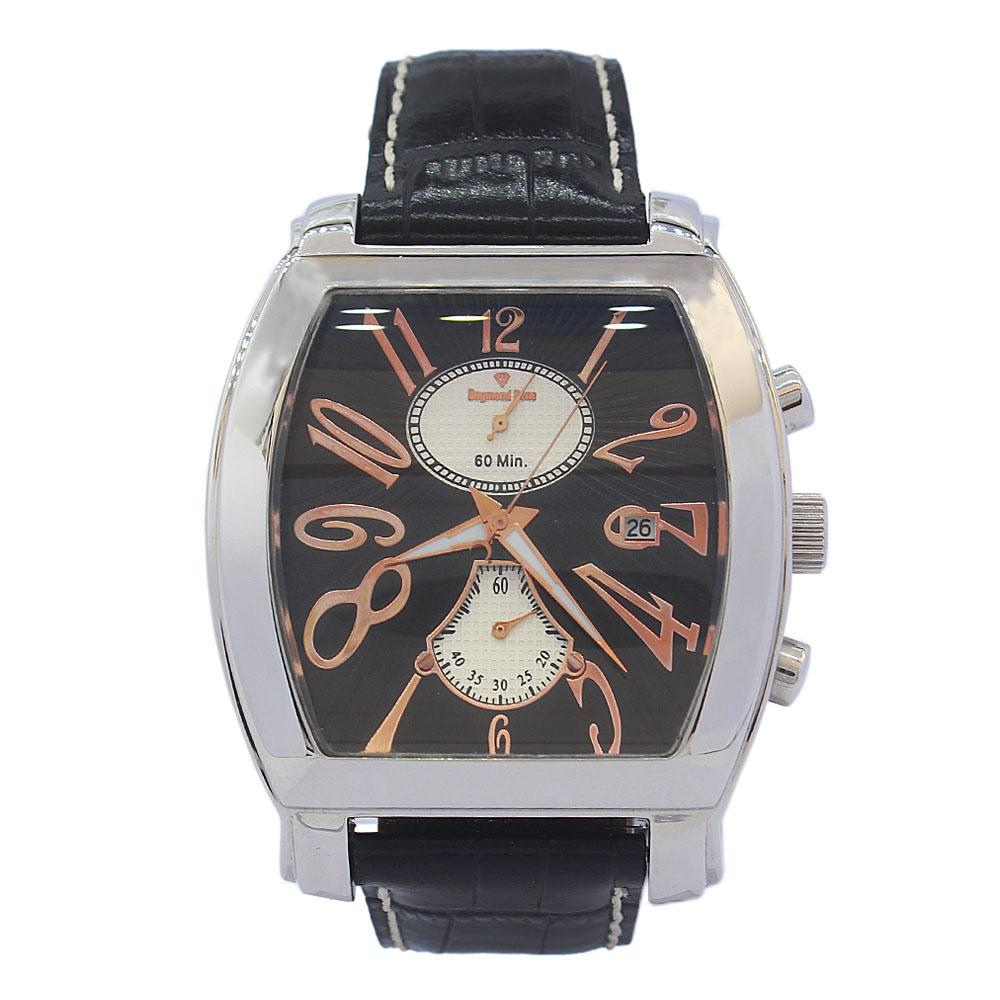 DR 3ATM Silver Black Leather Navigator Watch