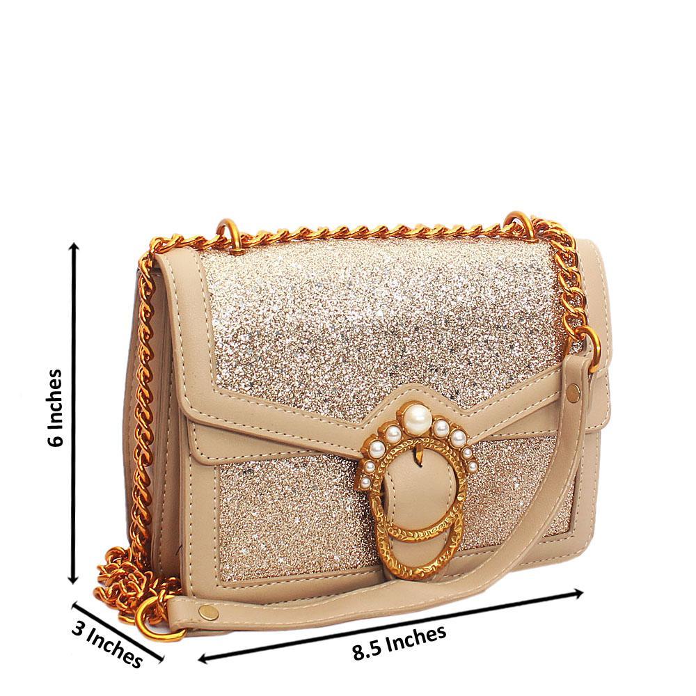 Khaki Gold Melrose Glitz Leather Crossbody Bag