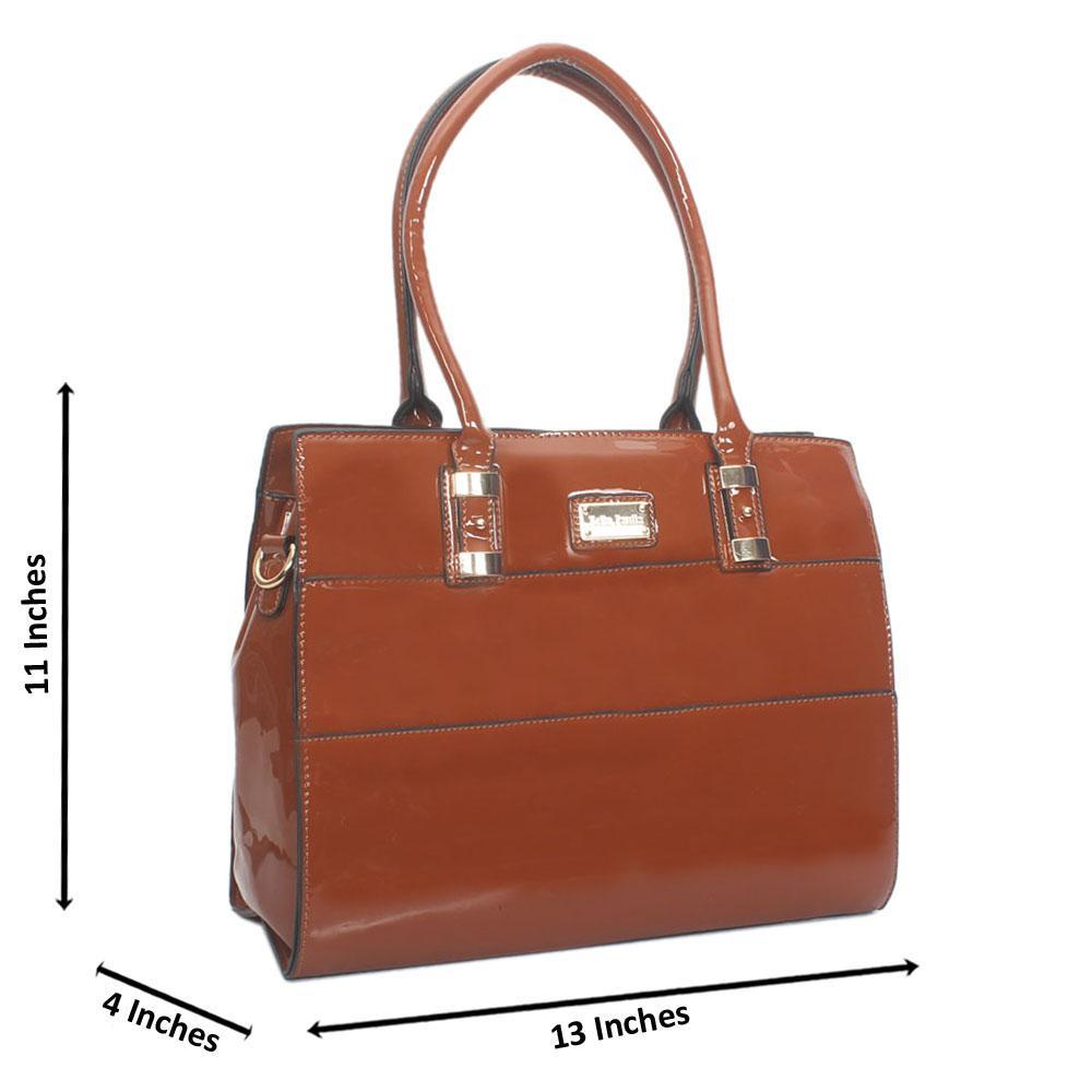 Brown Bella Paulla Patent Leather Tote Handbag