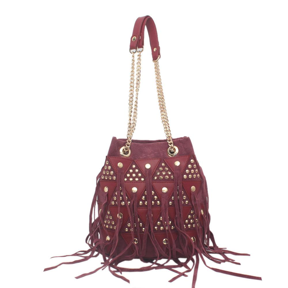 Wine Suede Leather Small Shoulder Bag