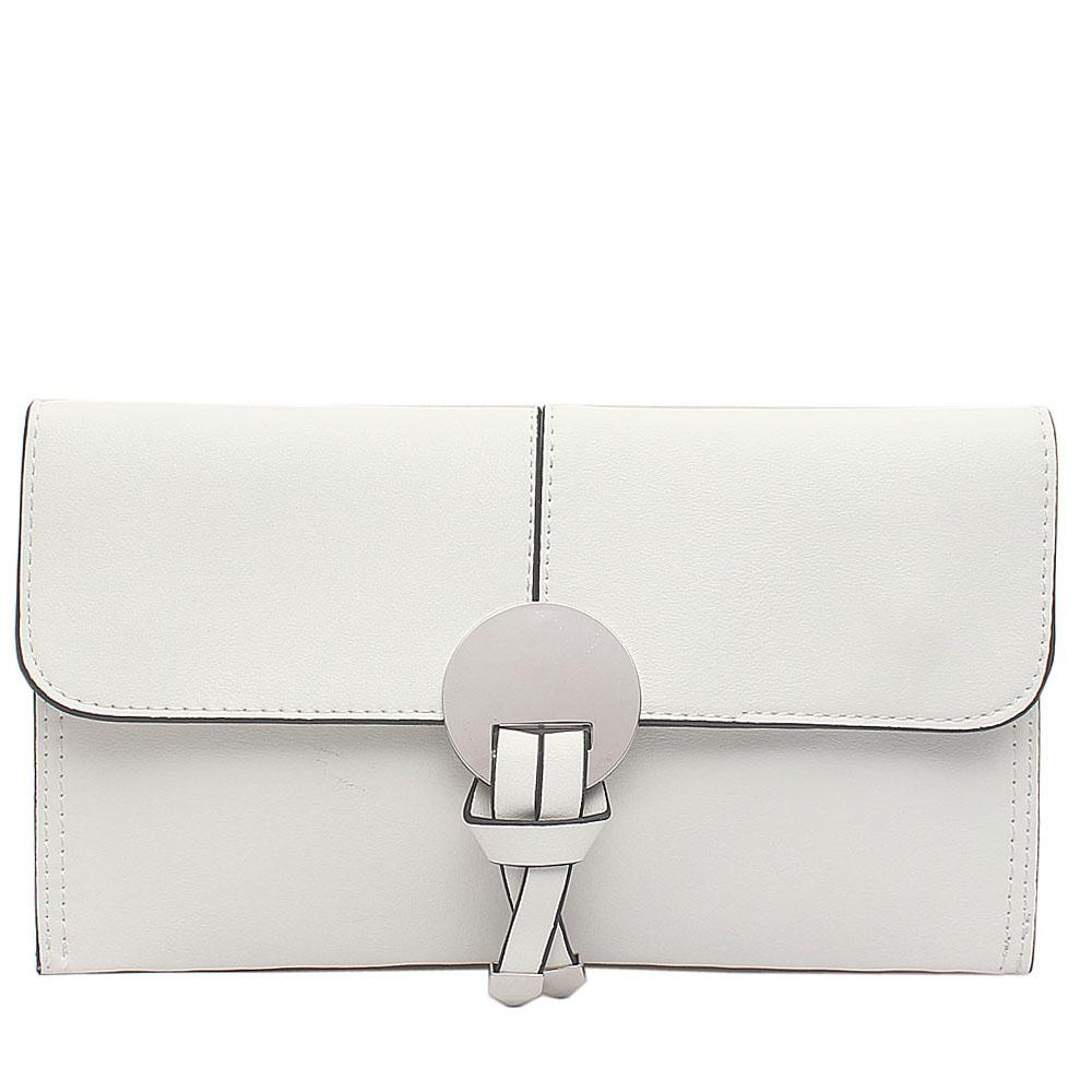 White Leather Flat Clutch