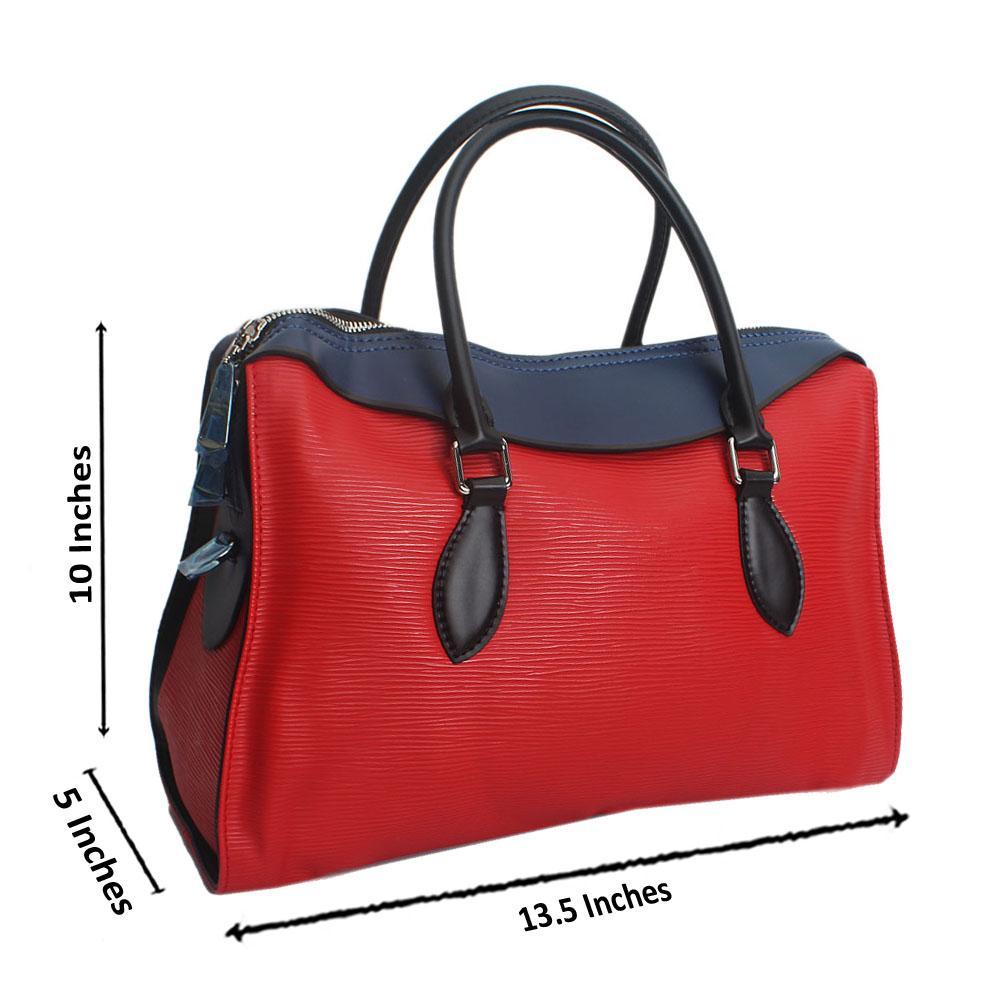 Red Blue Castilian Epi Saffiano LeatherHandbag
