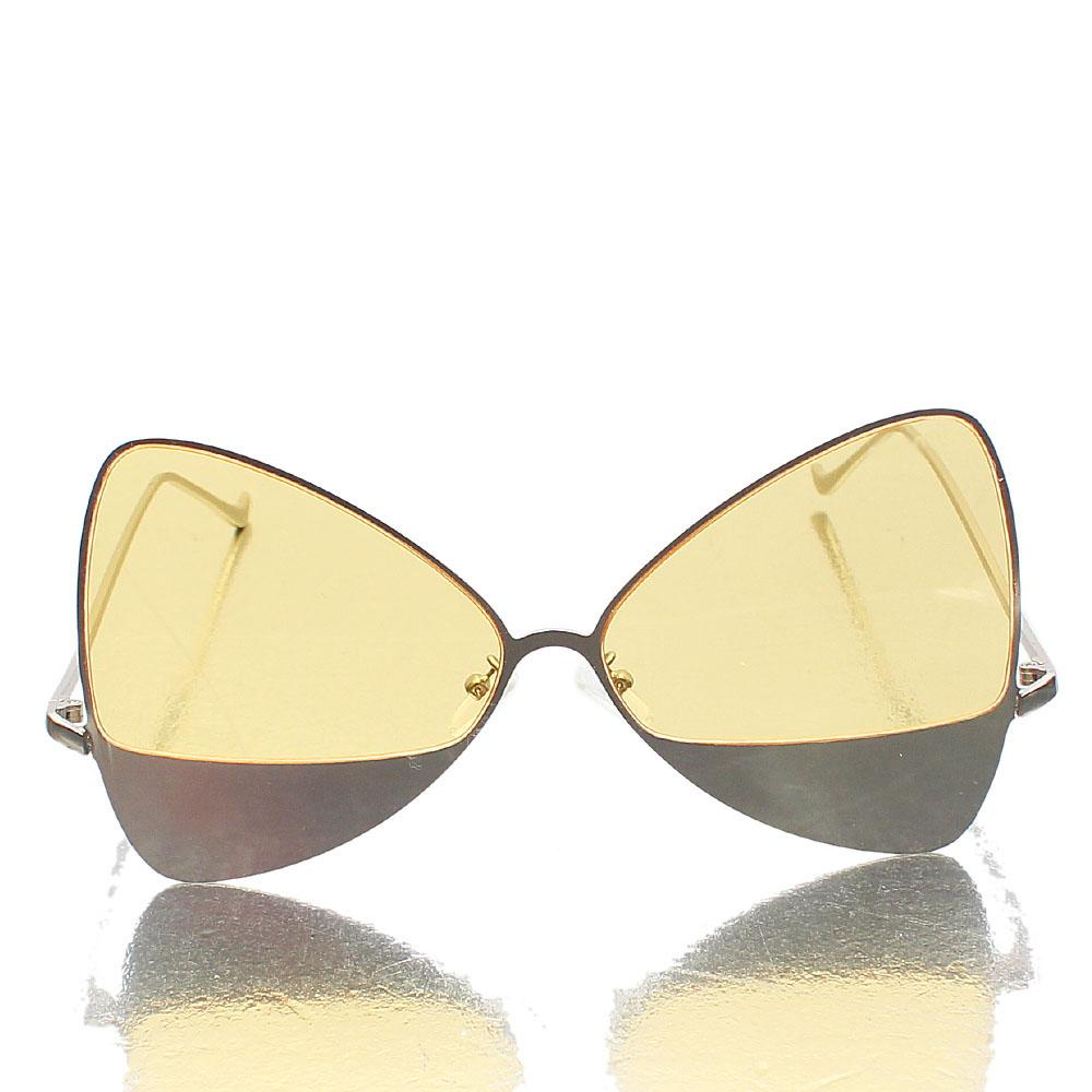 Gold Yellow Lens Butterfly Sunglasses