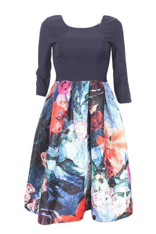 Shefly Navy Blue Mixed Ladies 3/4 Sleeve Dress