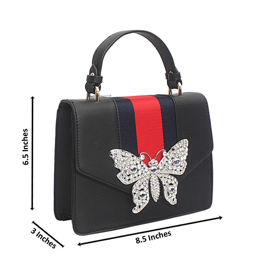 Black Butterfly Studded Leather Mini Handle Bag