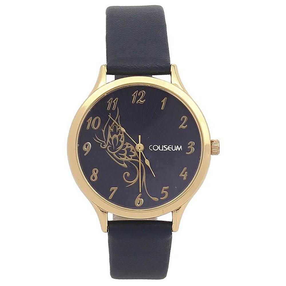 Coliseum Cavalier Black Suede Leather Ladies Fashion Watch-