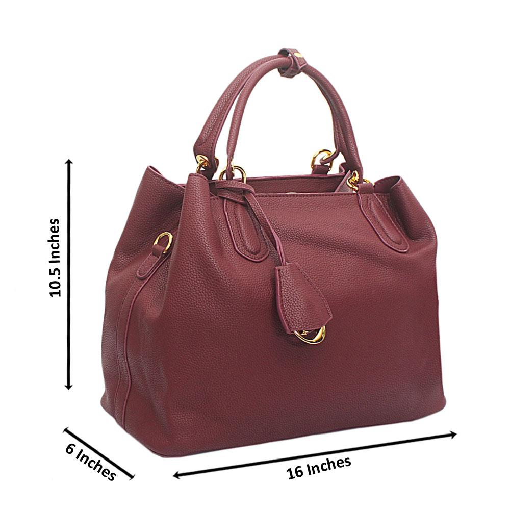 Wine Calfskin Leather Handbag