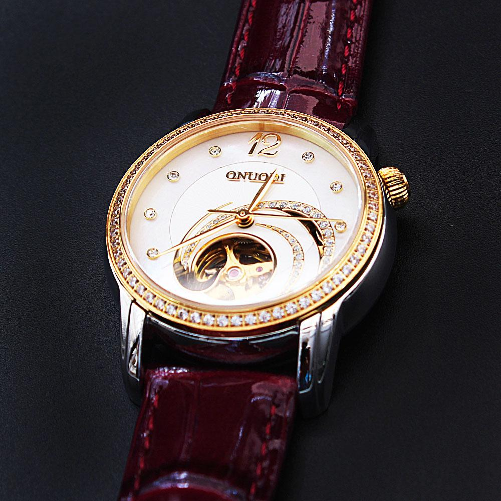 Diane Signature Studded Purple Leather Automatic Ladies Watch