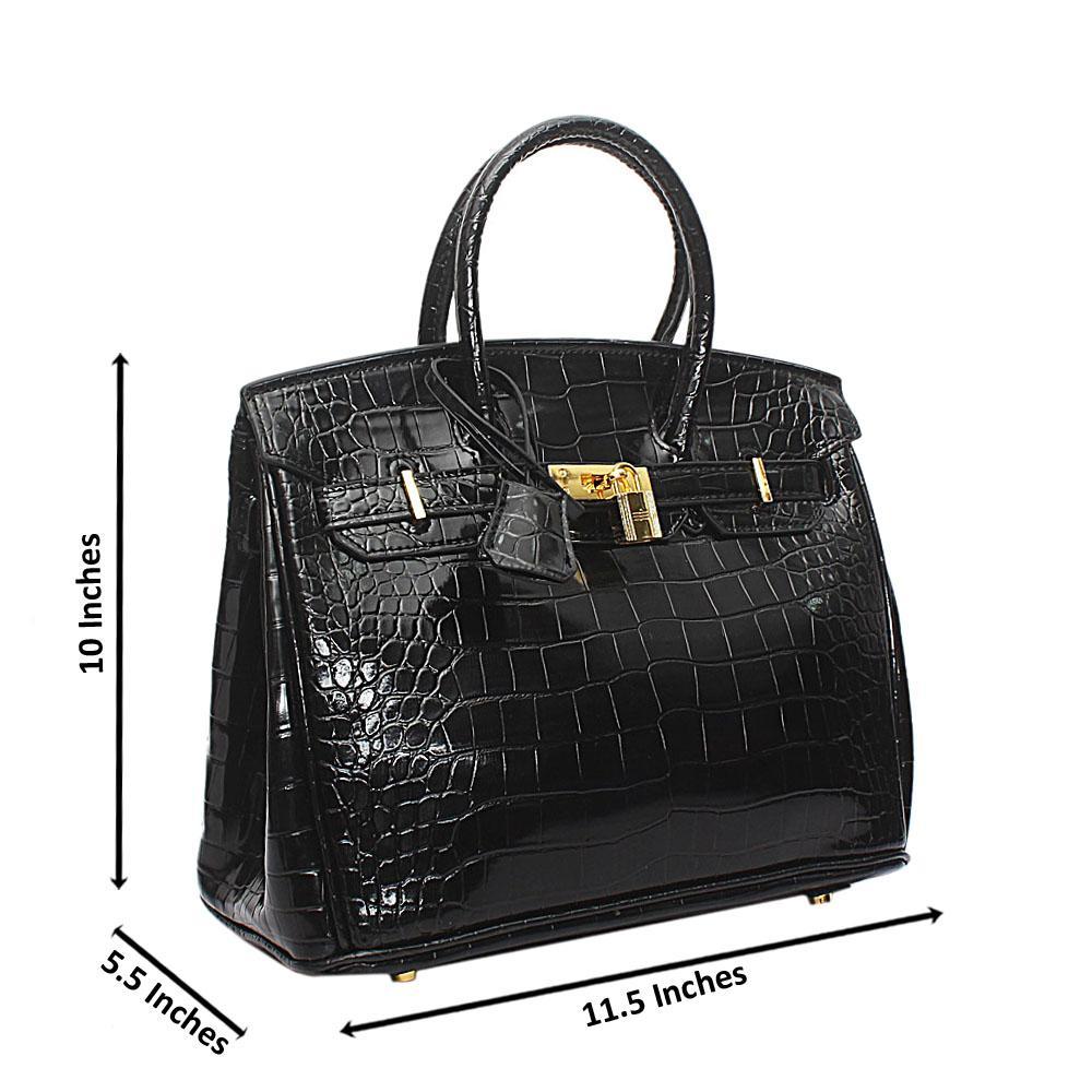 Black Croc Leather Matte Birkin Handbag