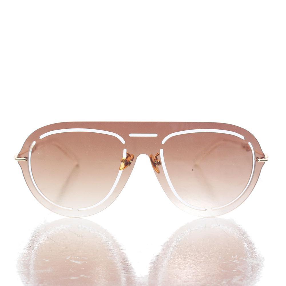 Gold Brown Shield Lens Sunglasses