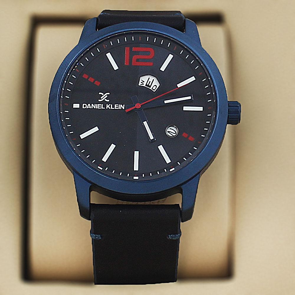 Daniel Klein Emilio  Blue Black Leather Fashion Series Watch