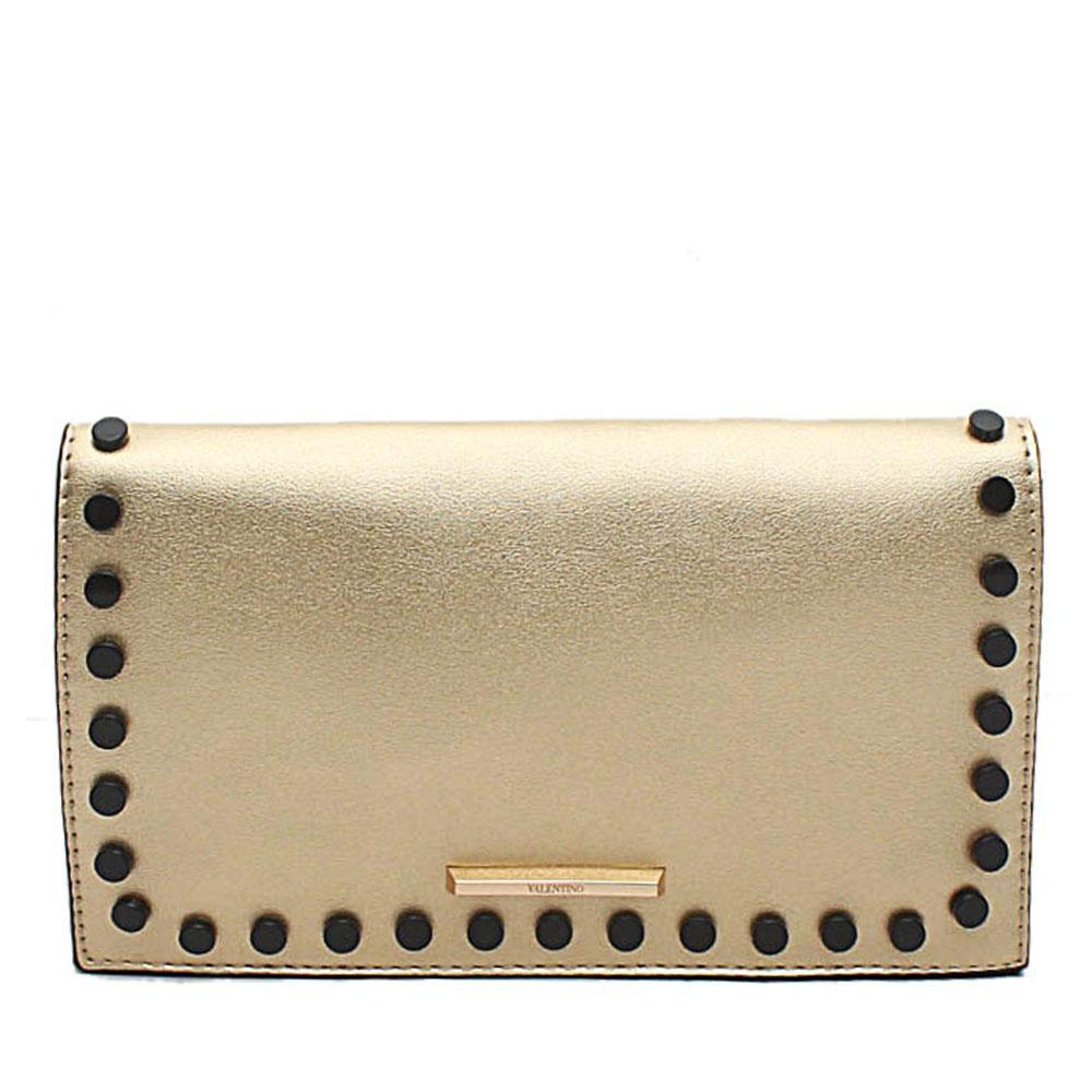 Gold Studded Leather Flat Clutch Purse