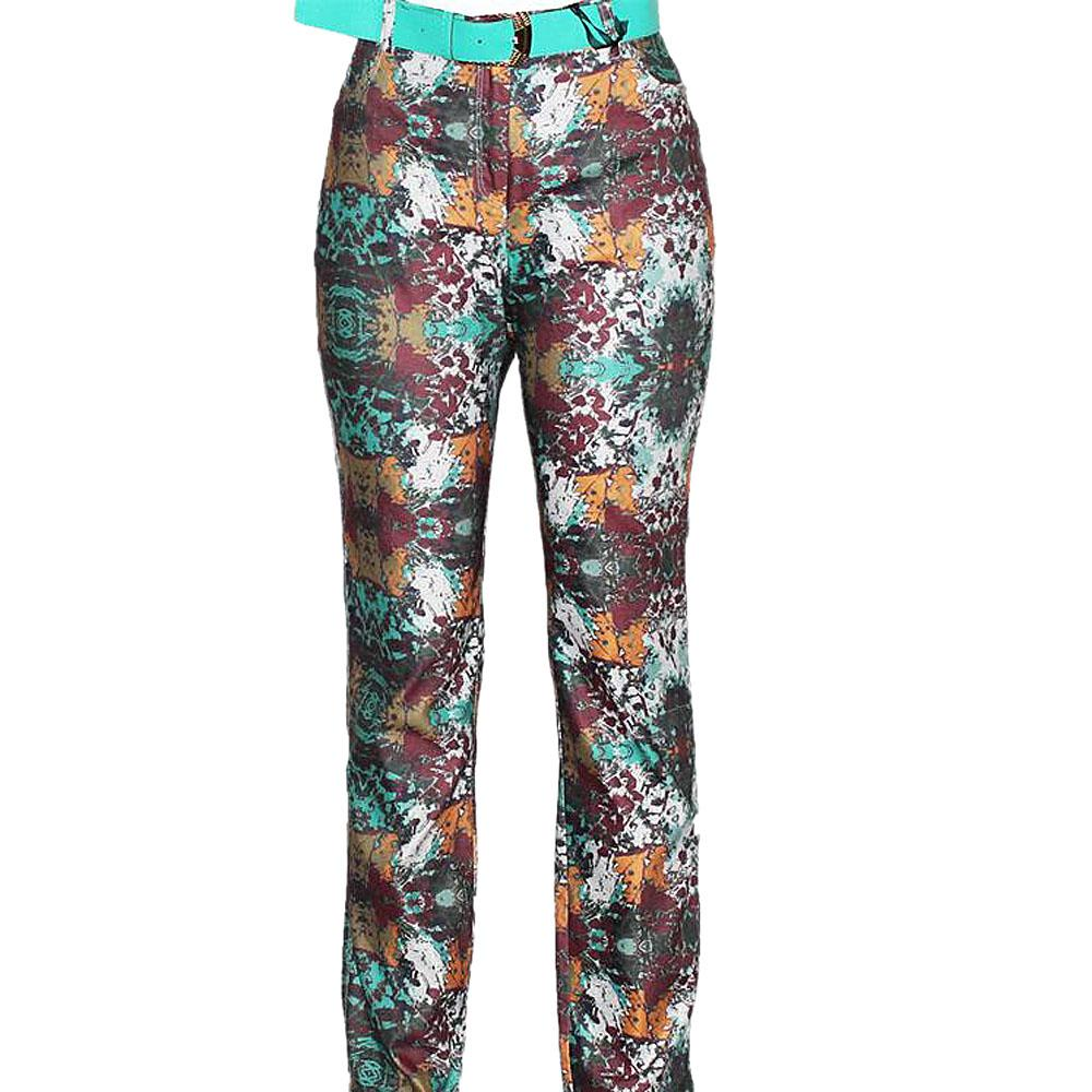 Delizia Green Mix Ladies Jeggings wt Belt-Eur 44