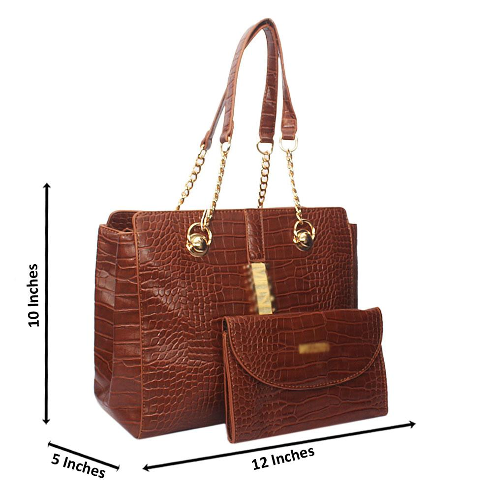Brown Amora Croc Leather Chain Shoulder Bag