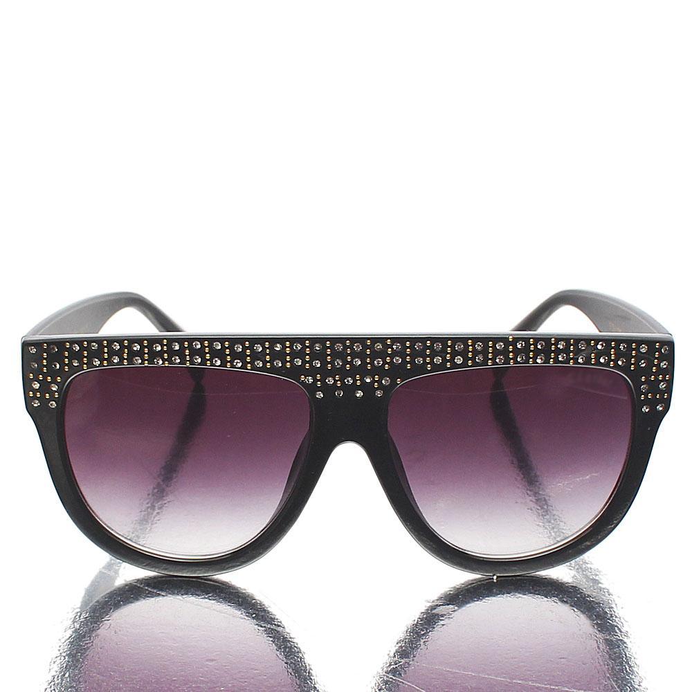Black Oblong Ice Studded Sunglasses