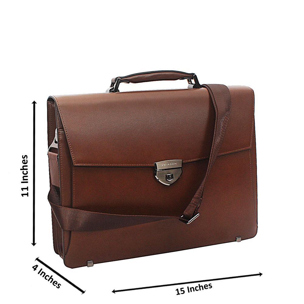 Brown Tweed Cowhide Leather Briefcase wt Front Lock