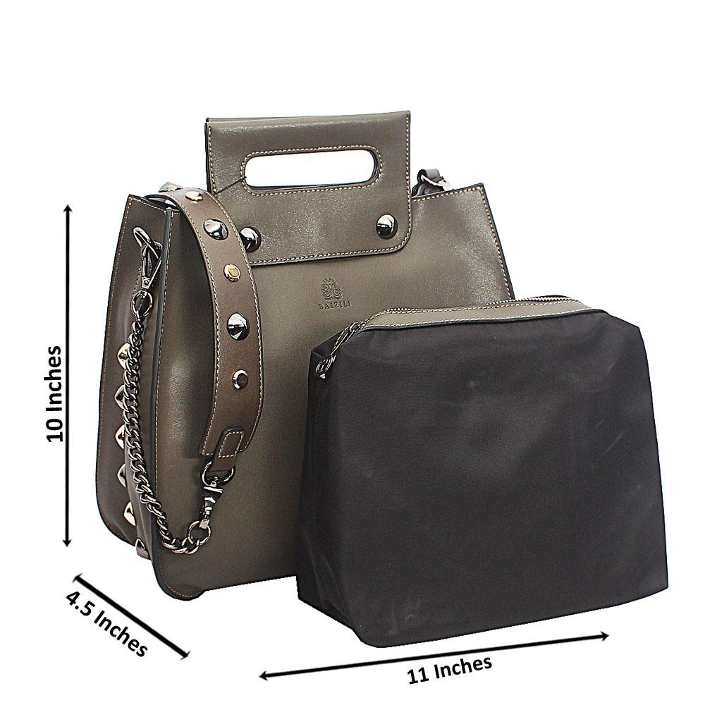 Baizili Khaki Stud Handle  Italian Leather Handbag