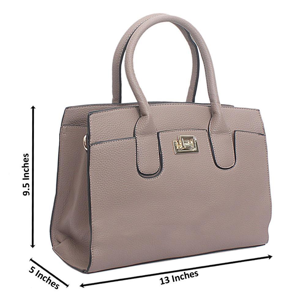 Khaki Leather Medium Blossom Handbag