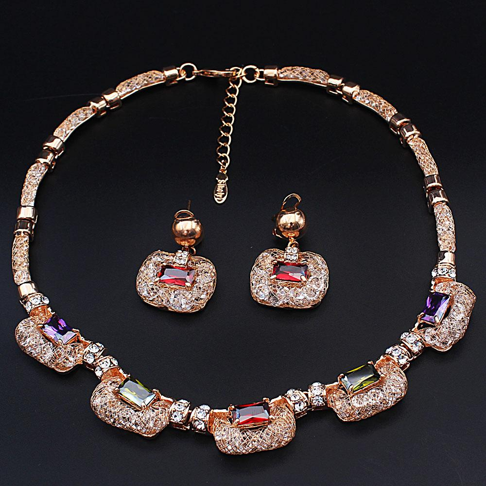 Diane Ross Sterling Gold Plated Multicolored Ice Stones Necklace and Earrin