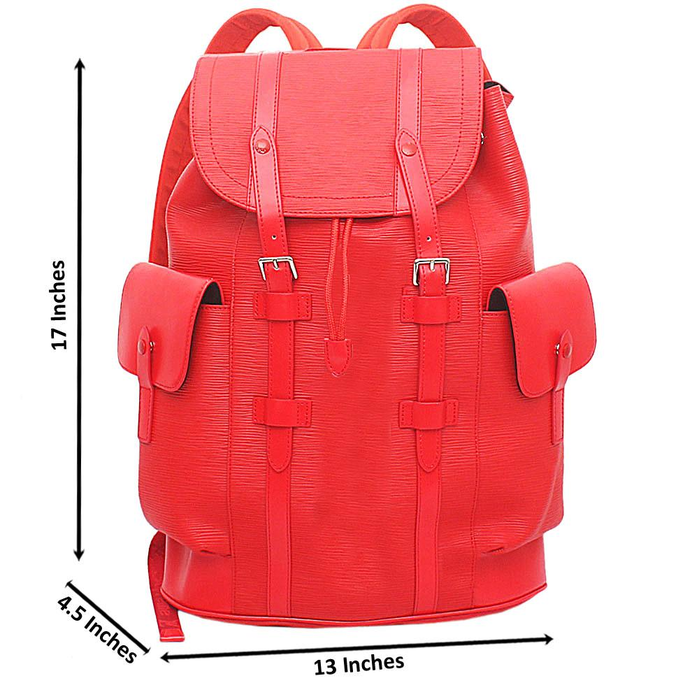Red Saffiano Leather Soft GG Supreme Backpack