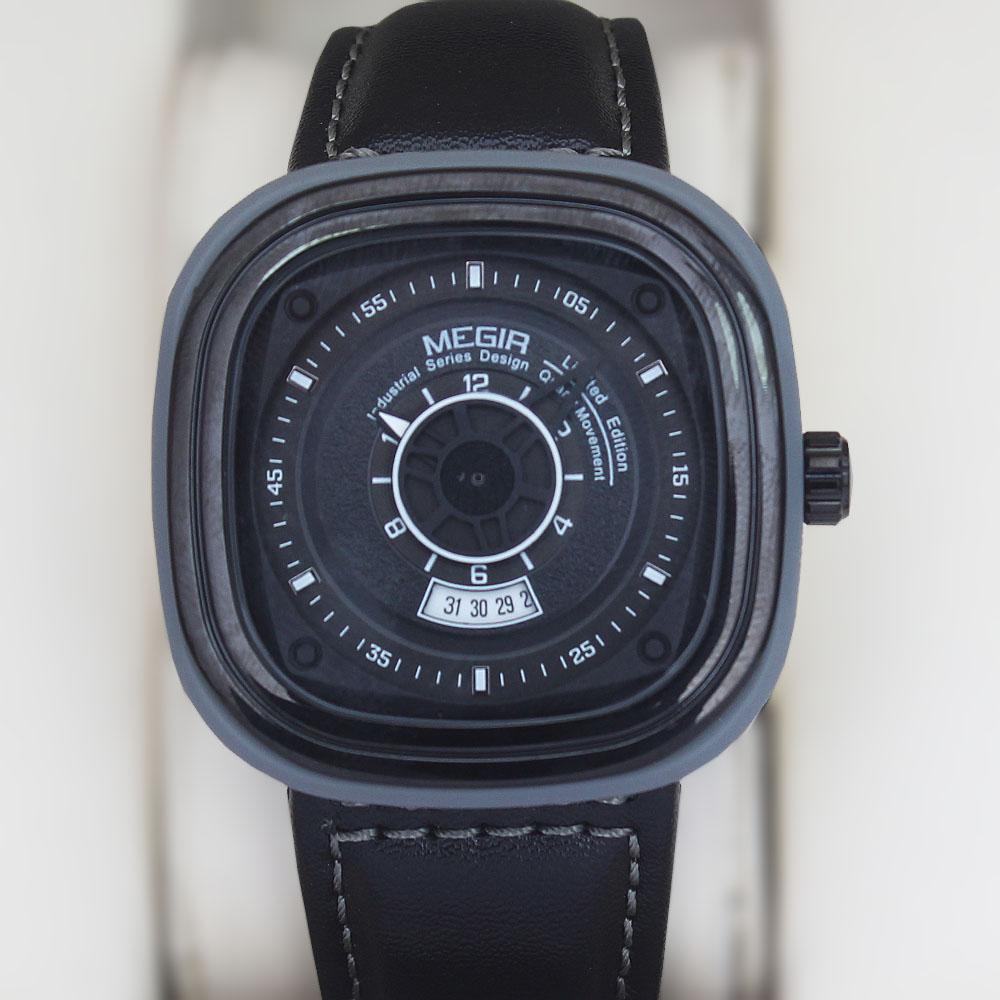 MG Square Black Gray Leather Watch