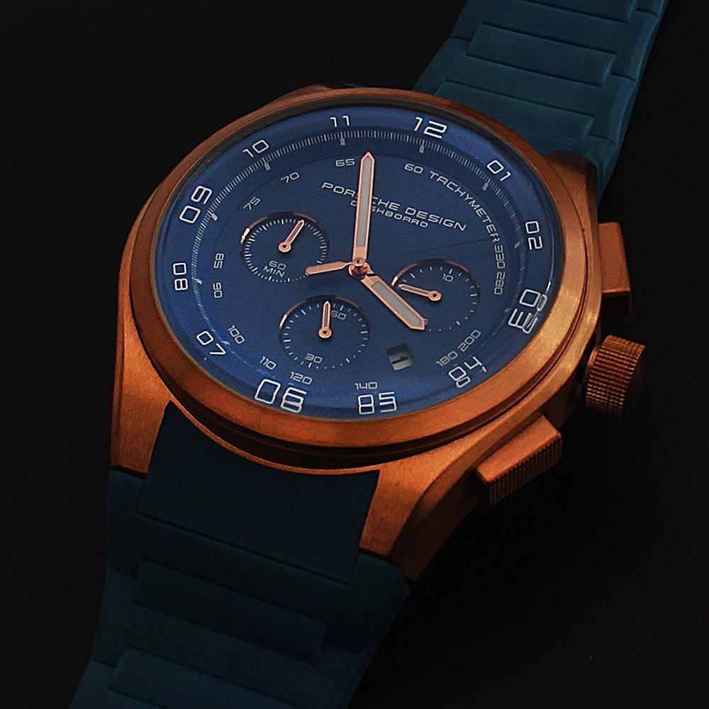 Blue Rubber Strap Men Chronograph Watch-